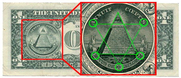 масонские знаки на долларе