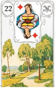 изображение карты ленорман развилка перекресток дама бубен