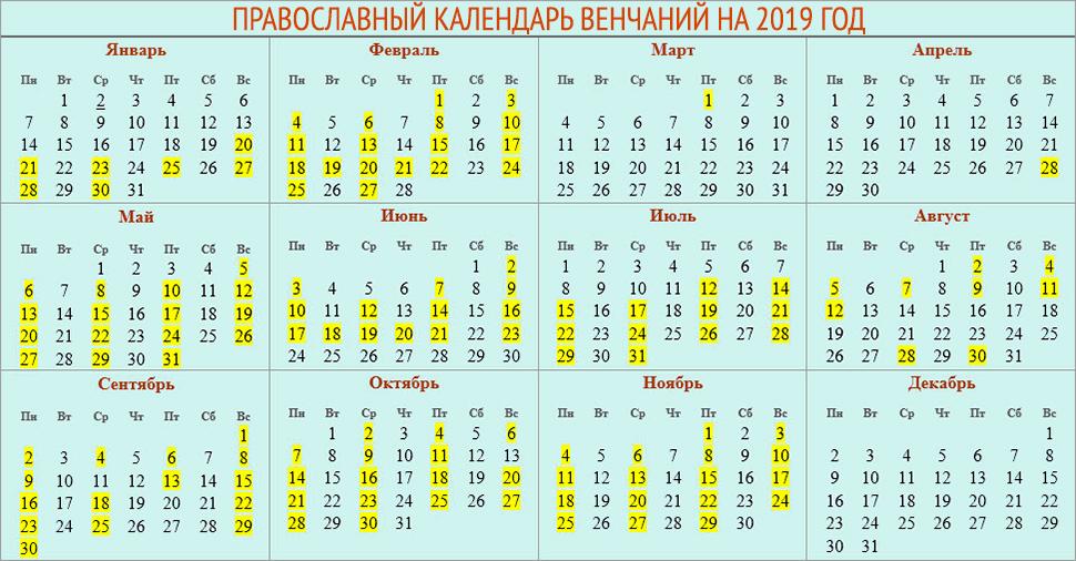 календарь венчаний 2019 год