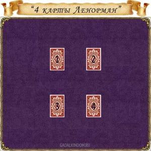 гадание 4 карты Ленорман