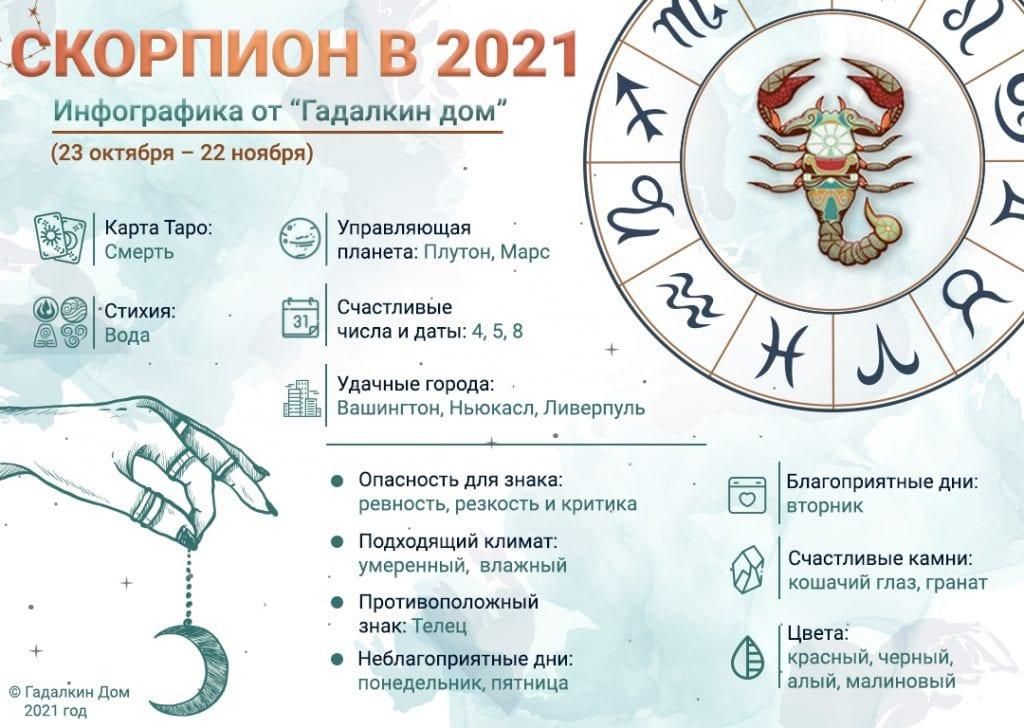 Гороскоп Скорпион 2021 год: инфографика