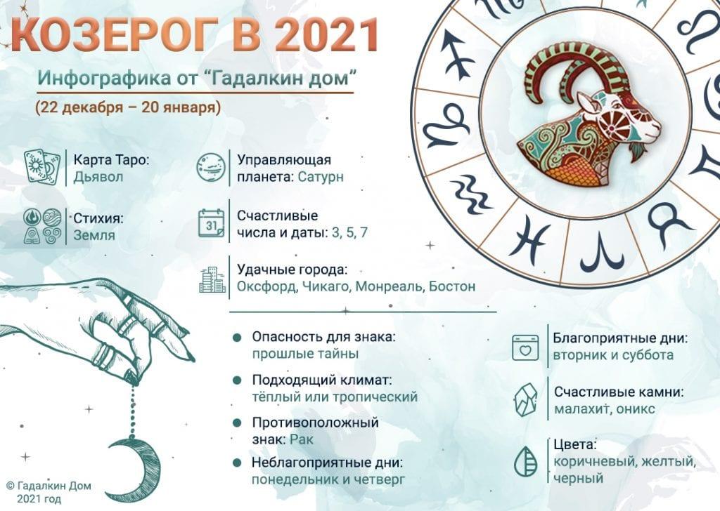 Гороскоп Козерог 2021 год: инфографика