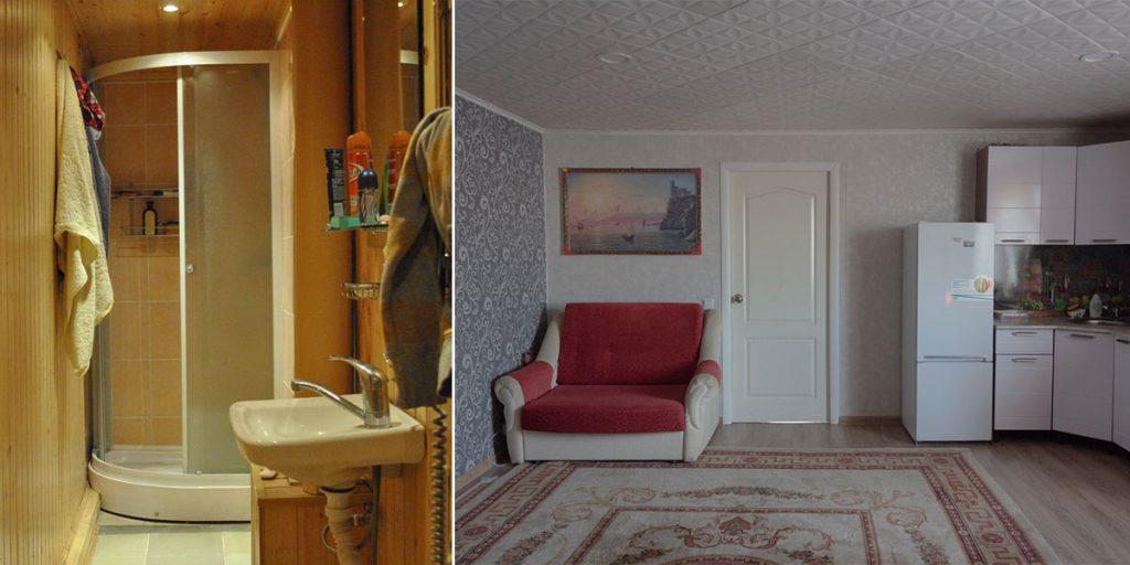 на втором этаже была устроена небольшая ванная комната и гостиная.