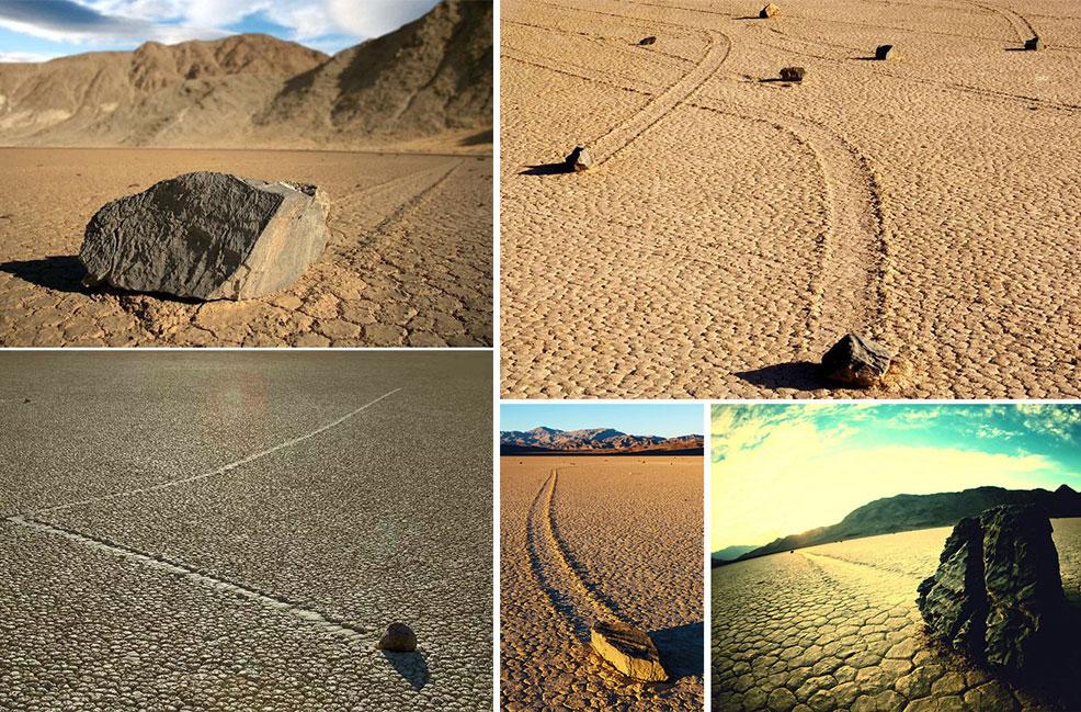 ФОто движущихся камней в долине смерти.