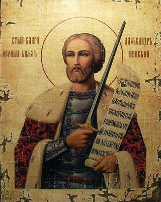 Старинная икона Александра Невского.