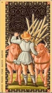 Карта Девятка Жезлов из колоды Флорентийское Таро