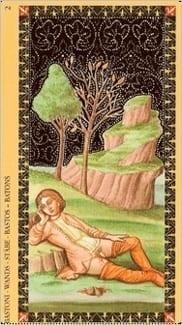 Карта Двойка Жезлов из колоды Флорентийское Таро