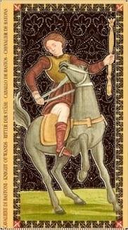 Карта Рыцарь Жезлов из колоды Флорентийское Таро