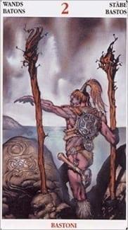 Карта Двойка Жезлов из колоды Кельсткое Таро