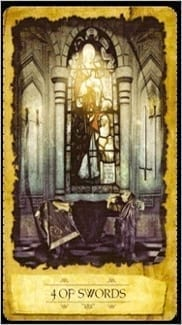 Карта Четверка Мечей из колоды Мистическое Таро Мечтателя