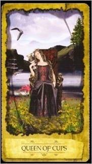 Карта Королева Чаш из колоды Мистическое Таро Мечтателя