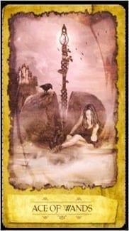 Карта Туз Жезлов из колоды Мистическое Таро Мечтателя