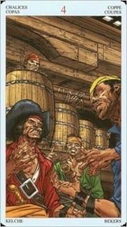 Карта Четверка Чаш из колоды Пиратское Таро