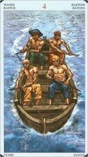 Карта Четверка Жезлов из колоды Пиратское Таро