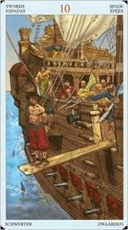 Карта Десятка Мечей из колоды Пиратское Таро