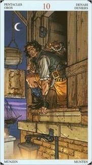 Карта Десятка  Пентаклей из колоды Пиратское Таро