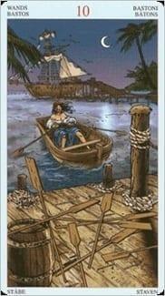 Карта Десятка Жезлов из колоды Пиратское Таро