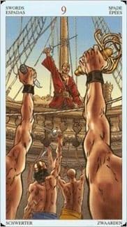 Карта Девятка Мечей из колоды Пиратское Таро