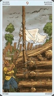 Карта Девятка Жезлов из колоды Пиратское Таро