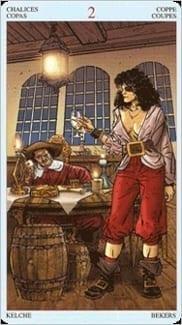 Карта Двойка Чаш из колоды Пиратское Таро