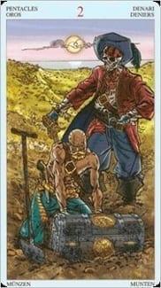 Карта Двойка Пентаклей из колоды Пиратское Таро