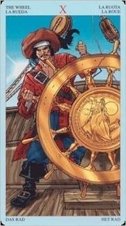 Карта Колесо Фортуны из колоды Пиратское Таро