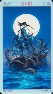 Карта Луна из колоды Пиратское Таро