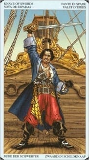 Карта Паж Мечей из колоды Пиратское Таро