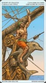 Карта Рыцарь Чаш из колоды Пиратское Таро