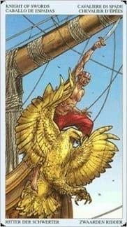 Карта Рыцарь Мечей из колоды Пиратское Таро
