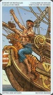 Карта Рыцарь Пентаклей из колоды Пиратское Таро