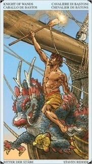 Карта Рыцарь Жезлов из колоды Пиратское Таро