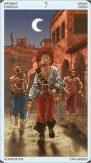 Карта Семерка Мечей из колоды Пиратское Таро