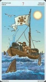 Карта Семерка Пентаклей из колоды Пиратское Таро