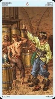 Карта Шестерка Чаш из колоды Пиратское Таро