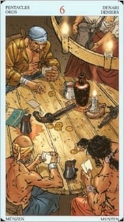 Карта Шестерка Пентаклей из колоды Пиратское Таро