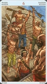 Карта Шестерка Жезлов из колоды Пиратское Таро