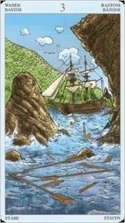 Карта Тройка Жезлов из колоды Пиратское Таро