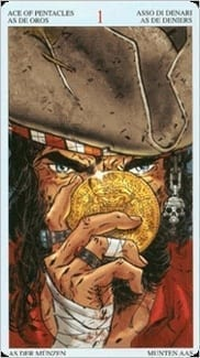 Карта Туз Пентаклей из колоды Пиратское Таро