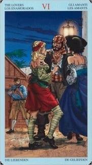 Карта Влюбленные из колоды Пиратское Таро