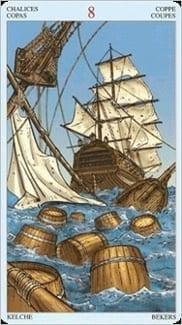 Карта Восьмерка Чаш из колоды Пиратское Таро
