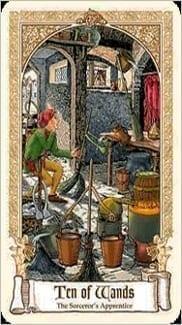 Карта Десятка Жезлов из колоды Сказочное Таро