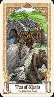 Карта Двойка Жезлов из колоды Сказочное Таро