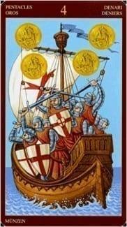 Карта Четверка Пентаклей из колоды Средневековое Таро