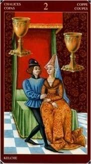 Карта Двойка Чаш из колоды Средневековое Таро