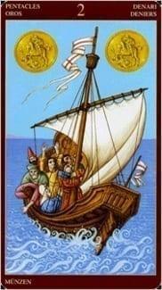 Карта Двойка Пентаклей из колоды Средневековое Таро