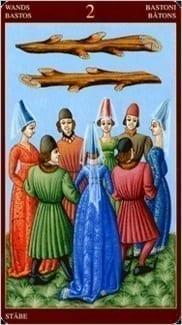 Карта Двойка Жезлов из колоды Средневековое Таро