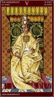 Карта Иерофант (Жрец, Папа) из колоды Средневековое Таро