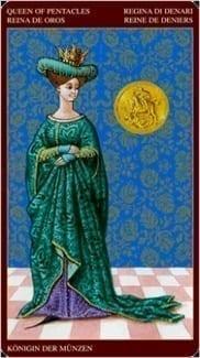 Карта Королева Пентаклей из колоды Средневековое Таро