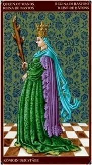 Карта Королева Жезлов из колоды Средневековое Таро